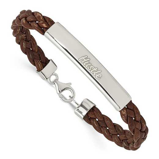 QG1087-7C: SS Rhodium-plated Hustle Brown Braided Leather Bracelet