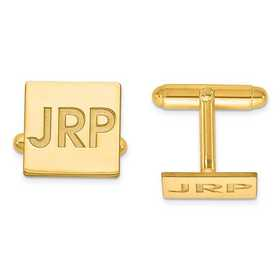 XNA611GP: Gold Plated/SS Recessed Letters Square Monogram Cuff Links