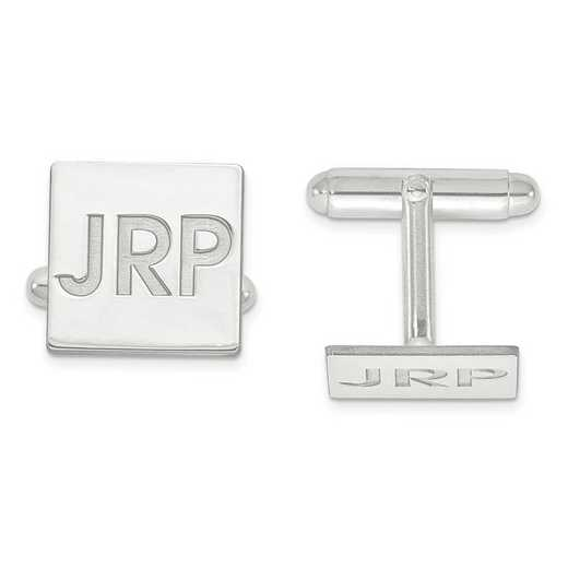 XNA611SS: SS Rh-plt ReceSS Rh-plted Letters Square Monogram Cuff Links