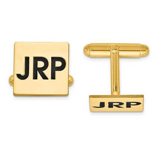 XNA613GP: Gold Plated/SS Enameled Letters Square Monogram Cuff Links