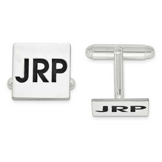 XNA613SS: SS Rhod-plated Enameled Letters Square Monogram Cuff Links