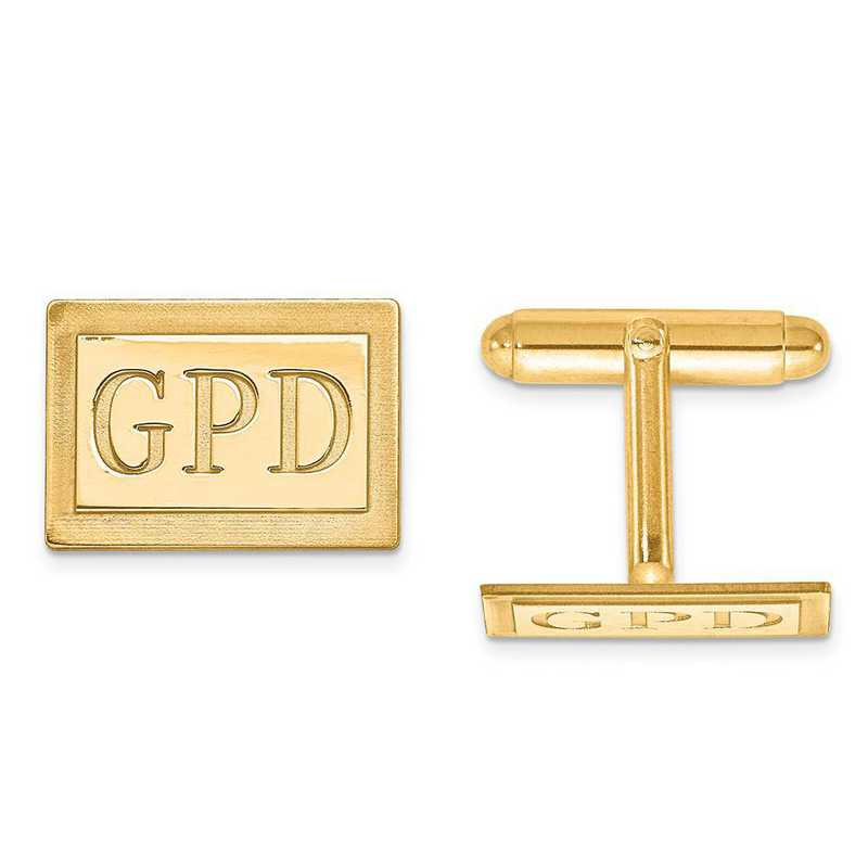 XNA615GP: Gold Plated/SS Recessed Letters Rectangle Monogram Cuff Link