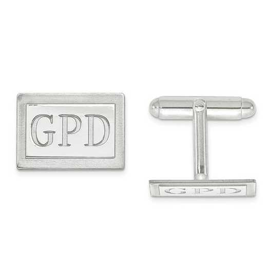 XNA615SS: SS Rh-plt Recess Letters Rectangle Monogram Cuff Links