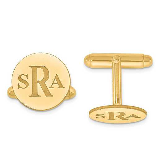 XNA617GP: Gold Plated/SS Recessed Letters Circle Monogram Cuff Links