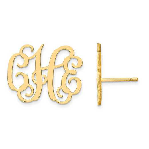 XNE24GP: Gold Plated Medium Laser Polished Monogram Post Earrings