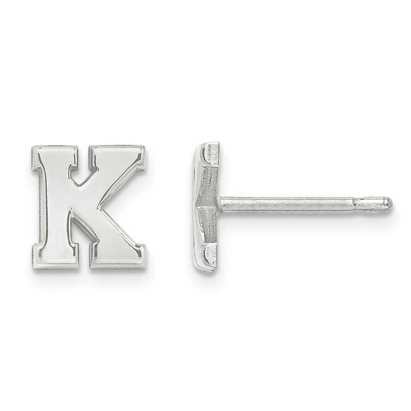XNE46SS: SS Rh-plt Laser Polished Initial 2 Letter Post Earrings