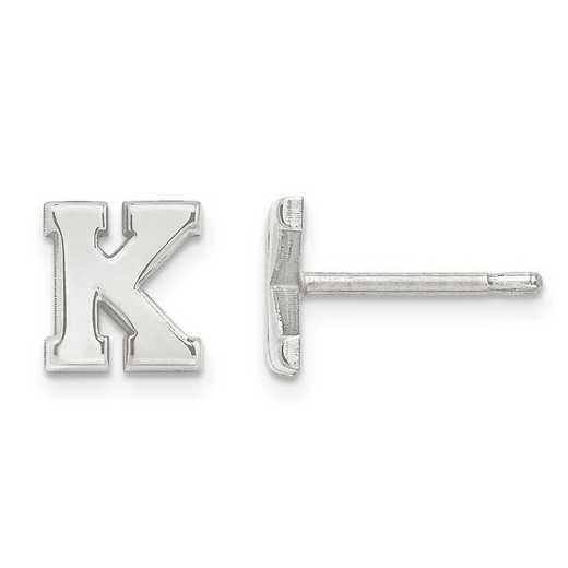 XNE46W: 14k White Gold Laser Polished Initial 2 Letter Post Earrings