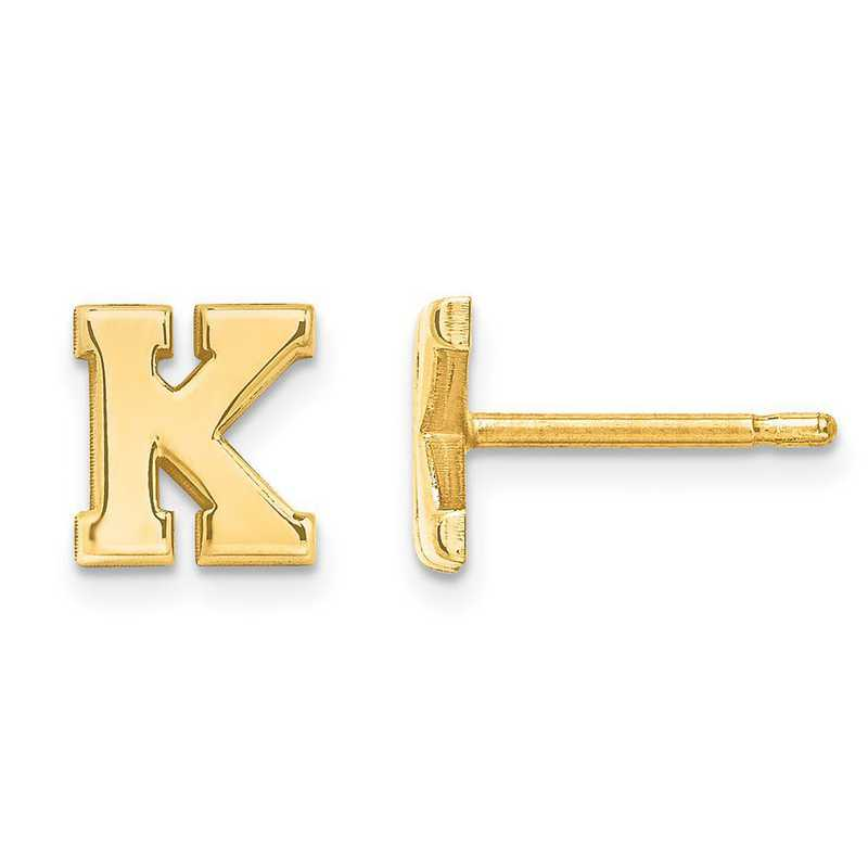 XNE46Y: 14k Laser Polished Initial 2 Letter Post Earrings
