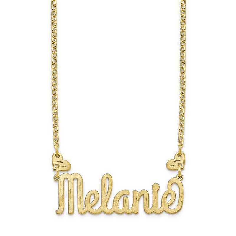 10XNA1036Y: 10 Karat Yellow GOld Heart Name Plate Necklace with Hearts