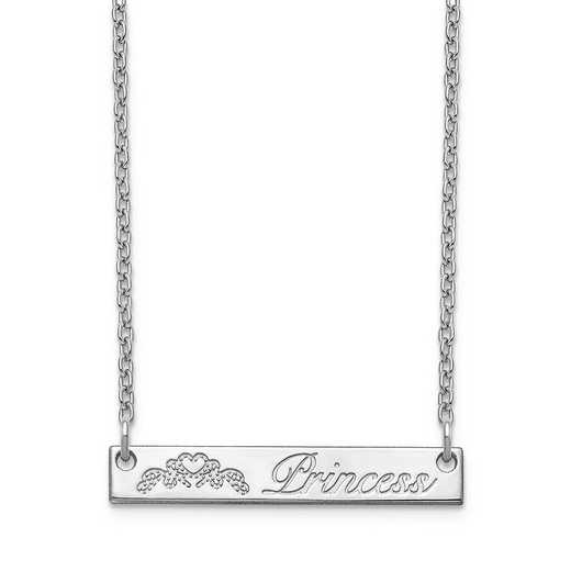 10XNA1040W: 10 Karat White Customized Bar Necklace