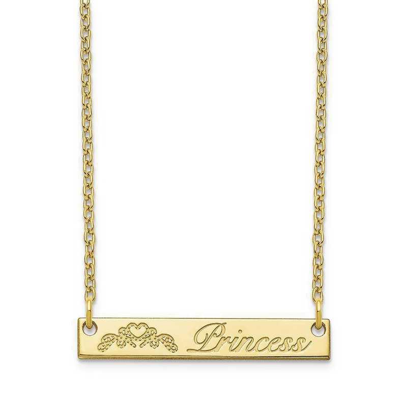 10XNA1040Y: 10 Karat Yellow Customized Bar Necklace