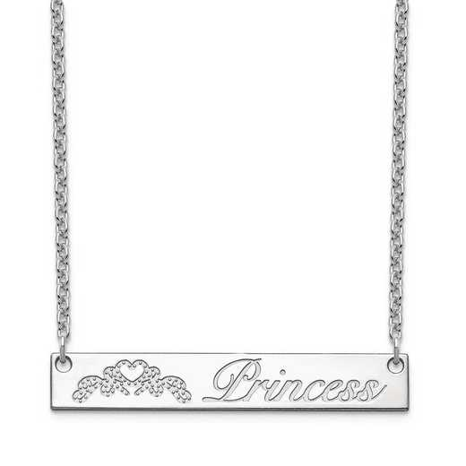 10XNA1041W: 10 Karat White Customized Bar Necklace