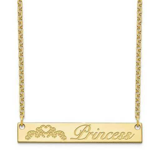 10XNA1041Y: 10 Karat Yellow Customized Bar Necklace