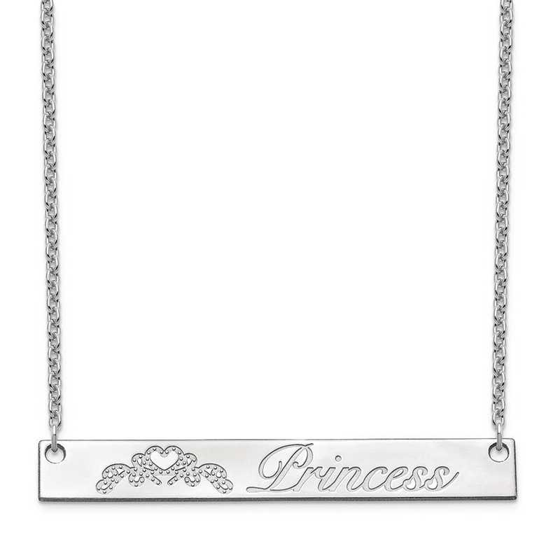 10XNA1042W: 10 Karat White Customized Bar Necklace