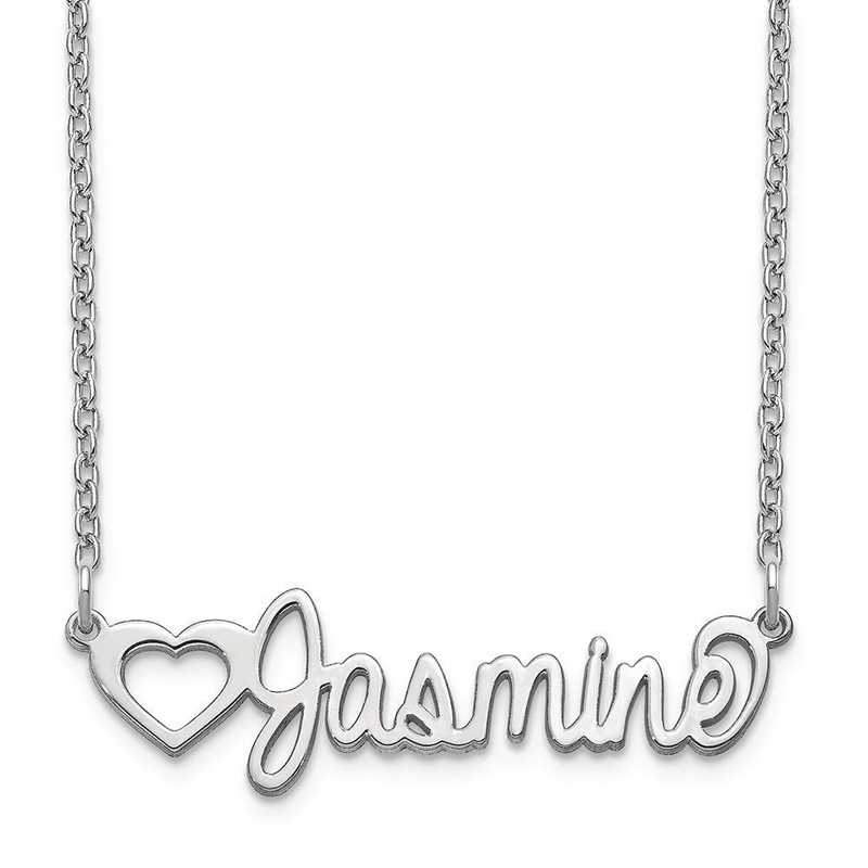 10XNA1049W: 10 Karat White Gold Customized Name Plate Necklace