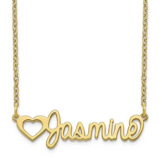 10XNA1049Y: 10 Karat Yellow Gold Customized Name Plate Necklace