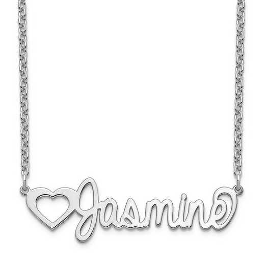 10XNA1050W: 10 Karat White Gold Customized Name Plate Necklace
