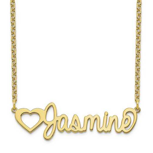 10XNA1050Y: 10 Karat Yellow Gold Customized Name Plate Necklace