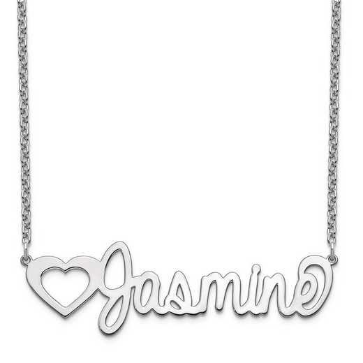 10XNA1051W: 10 Karat White Gold Customized Name Plate Necklace