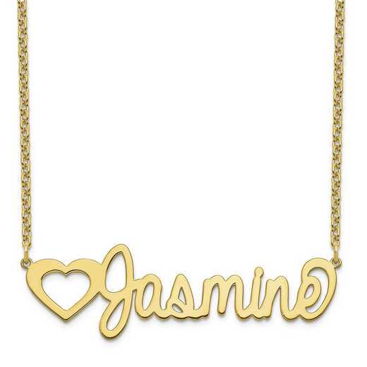 10XNA1051Y: 10 Karat Yellow Gold Customized Name Plate Necklace