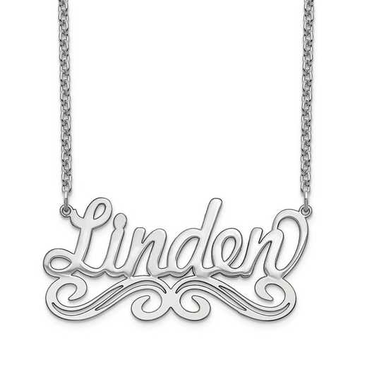 10XNA1060W: 10 Karat White Gold Name Plate Necklace