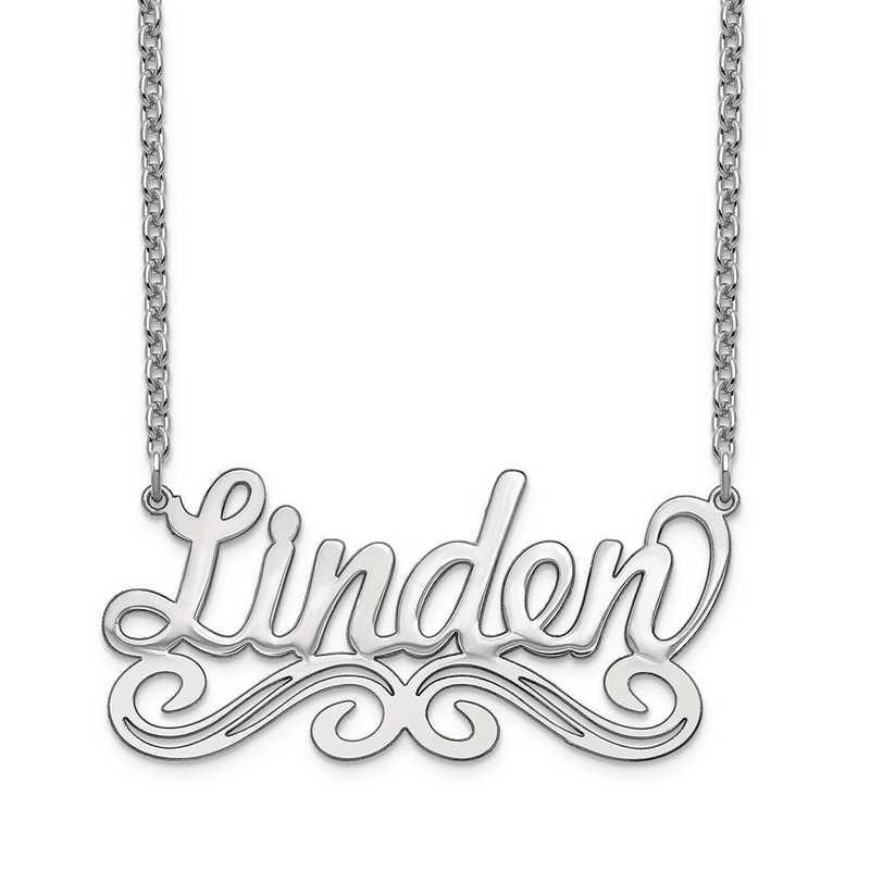 10XNA1060W: 10 Karat White Gold Name Plate Necklace