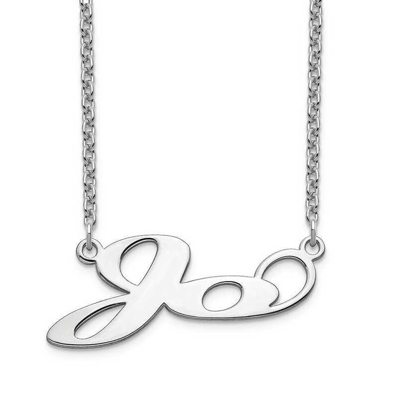 10XNA1068W: 10 Karat White Gold Short Matura Name Plate Necklace