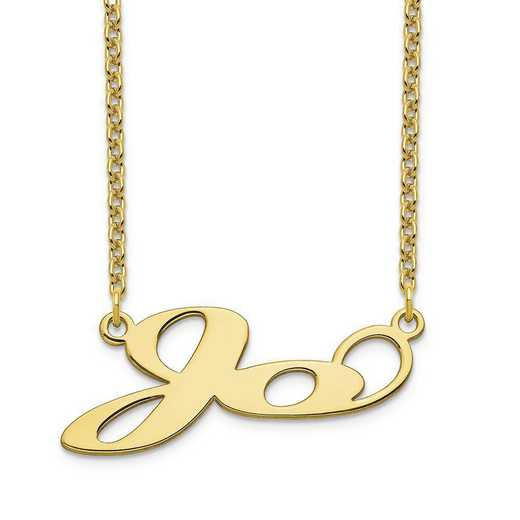 10XNA1068Y: 10 Karat Yellow Gold Short Matura Name Plate Necklace