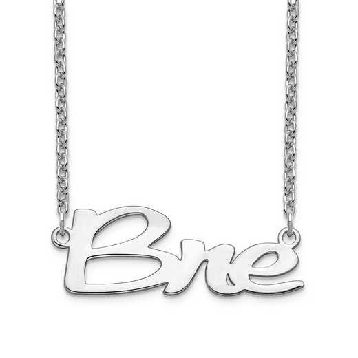 10XNA1069W: 10 Karat White Gold Short Veilchin Name Plate Necklace