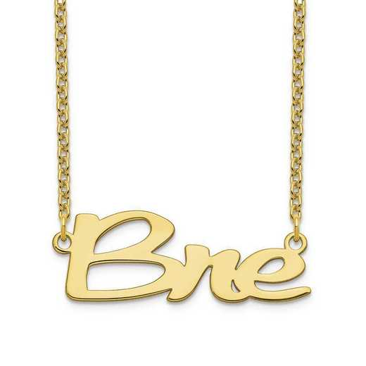 10XNA1069Y: 10 Karat Yellow Gold Short Veilchin Name Plate Necklace