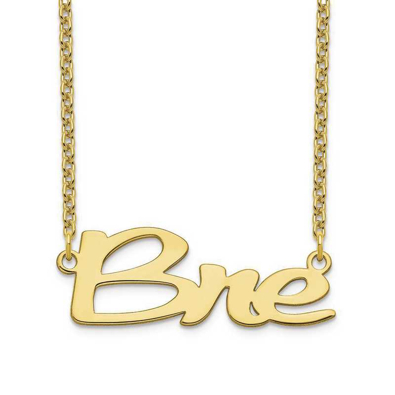 10XNA1069Y: 10 Karat Yellow Gold Short Veilchin Name Plate Necklace