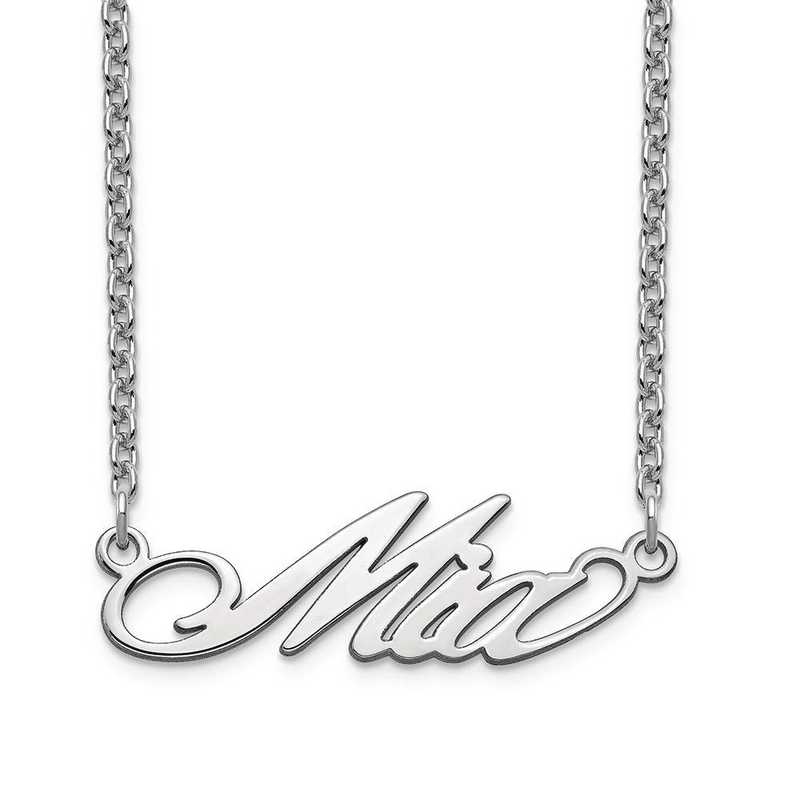 10XNA1070W: 10 Karat White Gold Short Surrey Name Plate Necklace