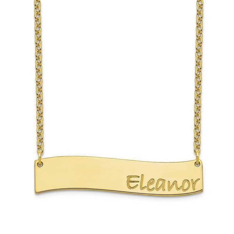 10XNA1073Y: 10 Karat Yellow Gold Medium Wavy Bar Necklace