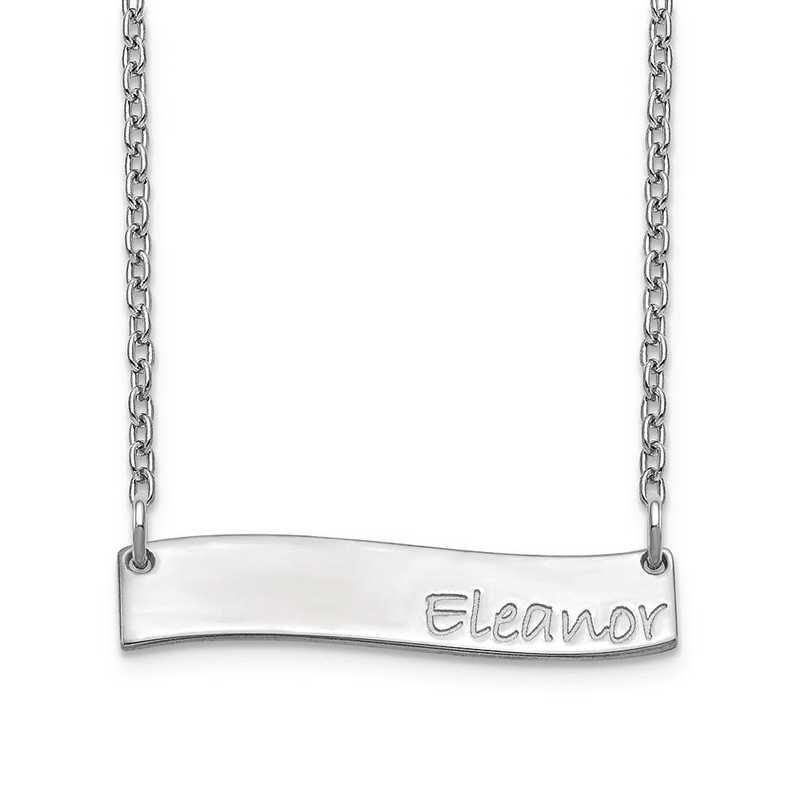 10XNA1074W: 10 Karat White Gold Small Wavy Bar Necklace