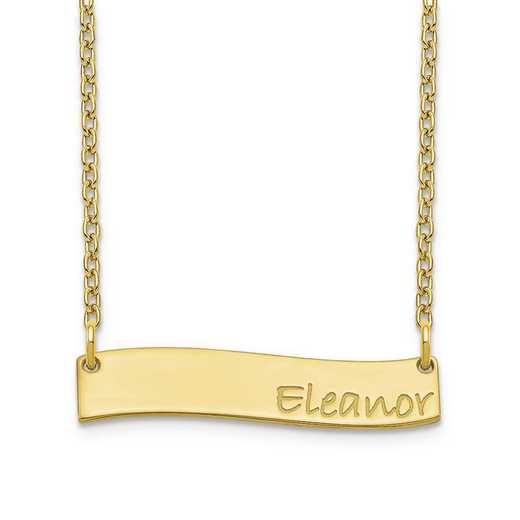 10XNA1074Y: 10 Karat Yellow Gold Small Wavy Bar Necklace