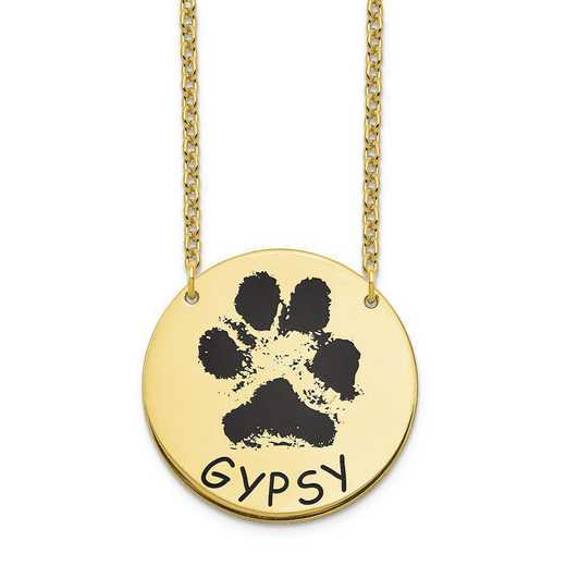 10XNA1078Y: 10 Karat Yellow Gold Large Paw Necklace
