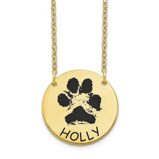 10XNA1079Y: 10 Karat Yellow Gold Small Paw Necklace