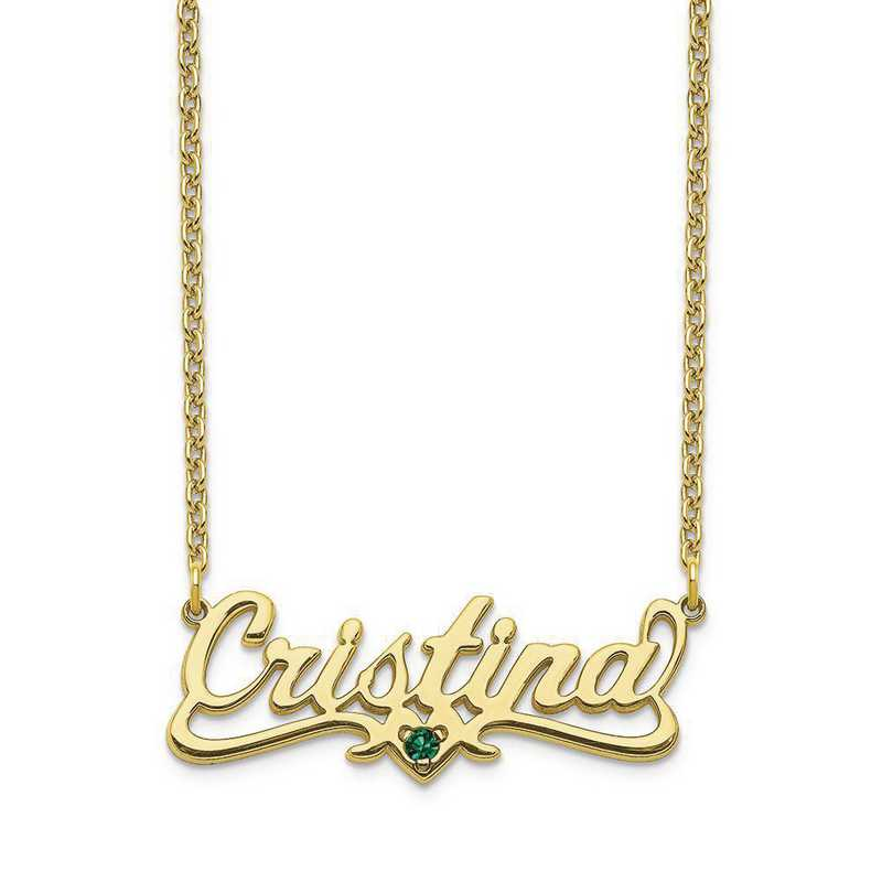 Personalized 10 Karat Yellow Gold Crystal Birthstone Name Plate Necklace