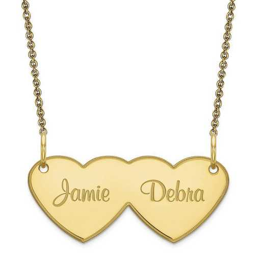 10XNA111Y: 10 Karat Yellow Gold Double Heart Name Plate