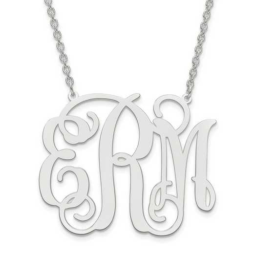 10XNA502W: 10k White Gold Large POLISHED CUTOUT MONOGRAM