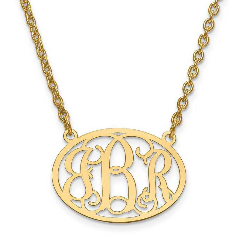 10XNA577Y: 10ky Small Laser Polished Oval Monogram Plate w/ Chain