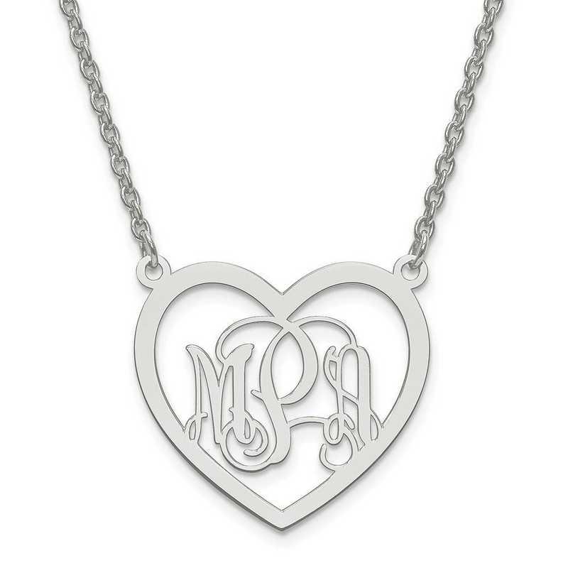 10XNA595W: 10kw Small Laser Polished Heart Plate Monogram w/ Chain