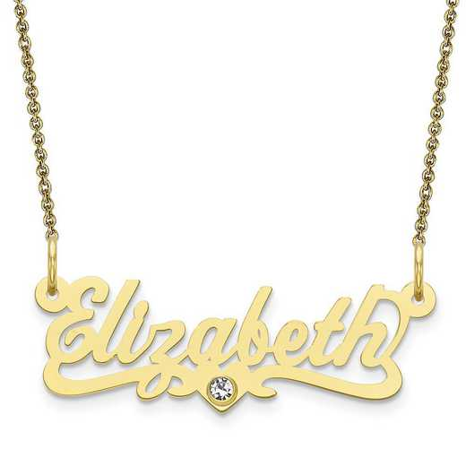 Personalized 10 Karat Yellow Gold Laser Polished Crystal Birthstone Name Plate Necklace