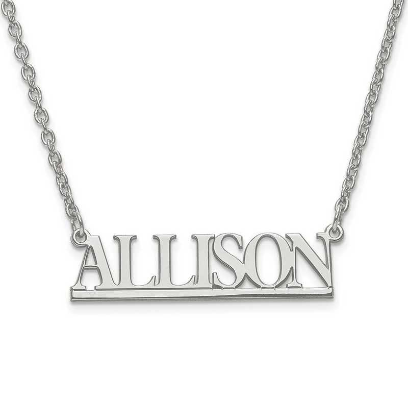 10XNA629W: 10 Karat White Gold Small Laser Polished Name Plate w/Chain