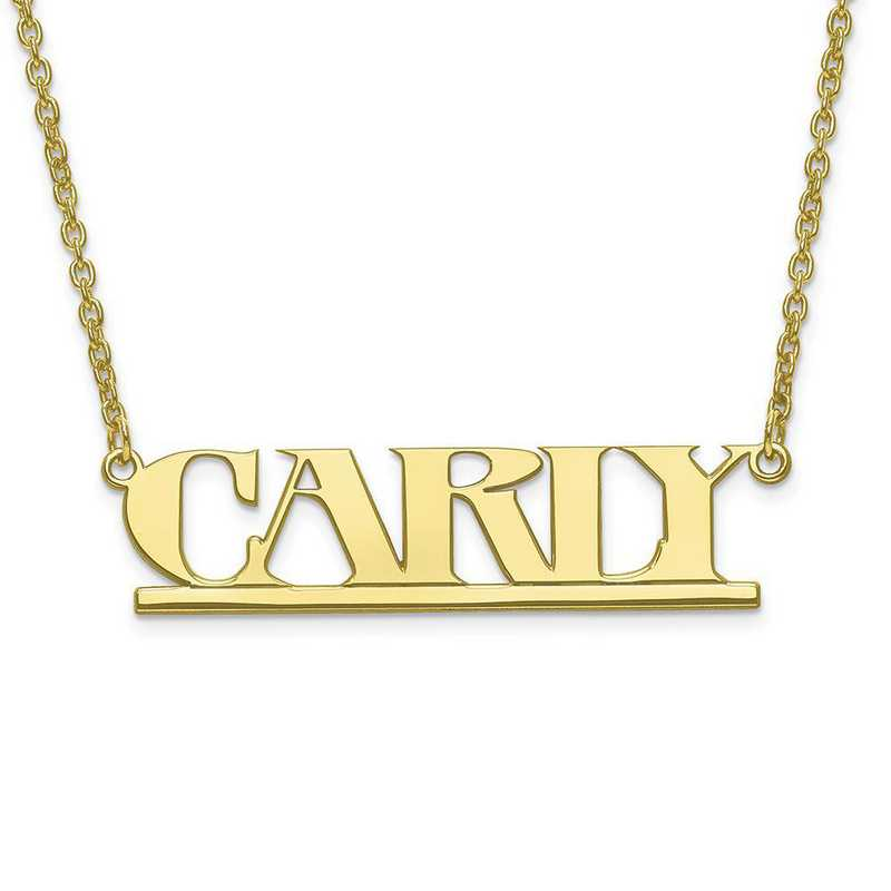 10XNA632Y: 10 Karat Yellow Gold Laser Polished Name Plate with Chain