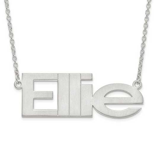 10XNA633W: 10 Karat White Gold Brushed Laser Name Plate wiht Chain