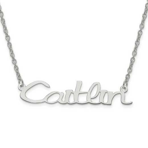 10XNA635W: 10 Karat White Gold Laser Polished Name Plate with Chain