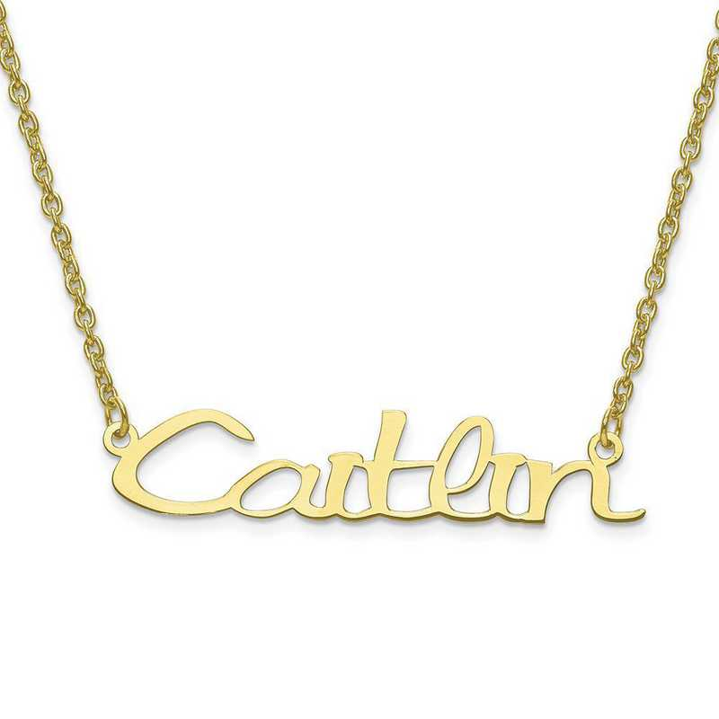 10XNA635Y: 10 Karat Yellow Gold Laser Polished Name Plate with Chain