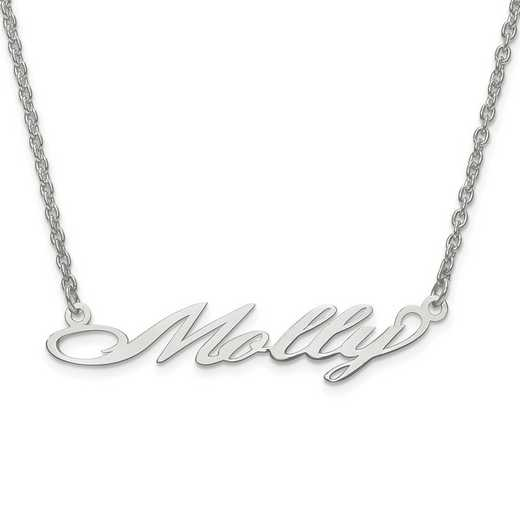 10XNA636W: 10 Karat White Gold Laser Polished Name Plate with Chain