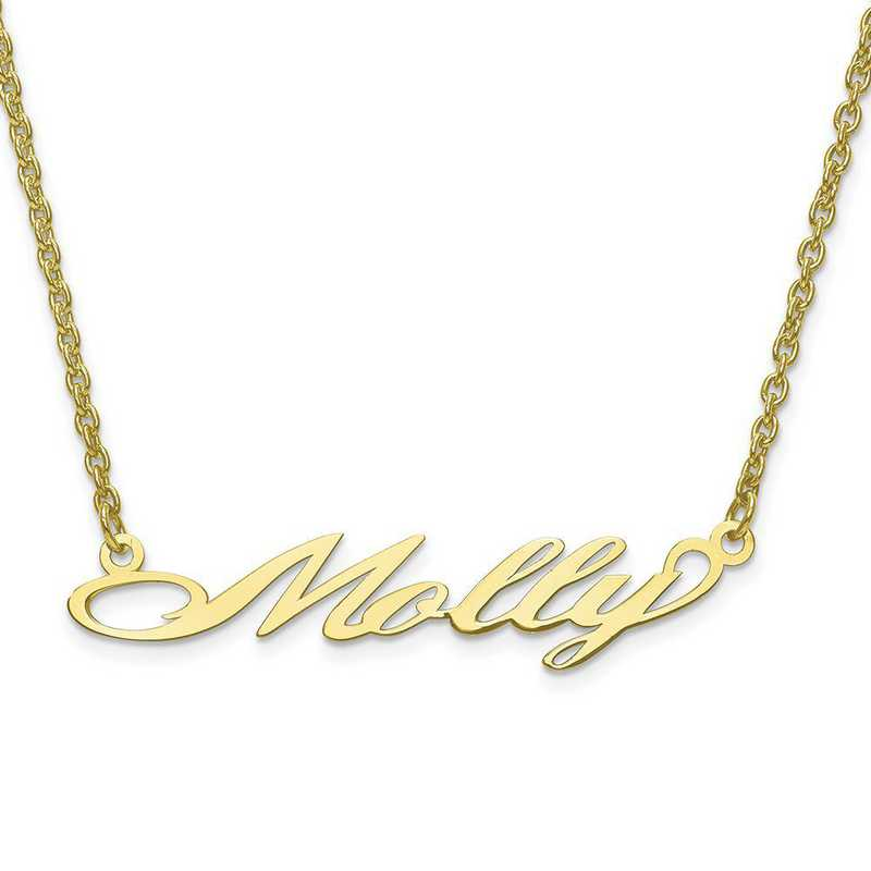10XNA636Y: 10 Karat Yellow Gold Laser Polished Name Plate with Chain